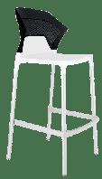 Барный стул Papatya Ego-S белое сиденье, верх черный, фото 1