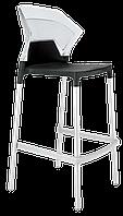 Барний стілець Papatya Ego-S чорне сидіння, верх прозоро-чистий, фото 1