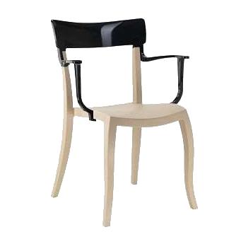 Кресло Papatya Hera-K песочно-бежевое сиденье, верх черный