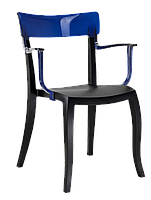 Кресло Papatya Hera-K черное сиденье, верх прозрачно-синий, фото 1