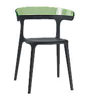 Кресло Papatya Luna черное сиденье, верх прозрачно-зеленый