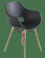 Кресло Papatya Opal-Wox матовое антрацит, рама натуральный бук, фото 1