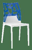 Стул Papatya Ego-Rock белое сиденье, верх прозрачно-синий