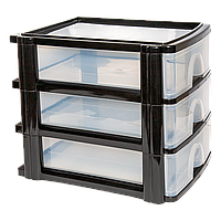 Комод-мини на три секции А4 прозрачно-черный
