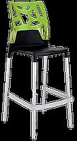 Барный стул Papatya Ego-Rock черное сиденье, верх прозрачно-зеленый, фото 1