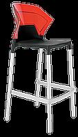 Барний стілець Papatya Ego-S чорне сидіння, верх прозоро-червоний, фото 1