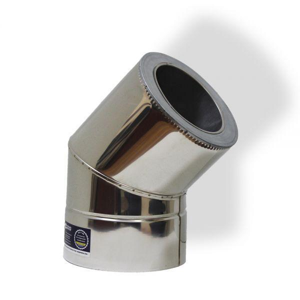 Отвод 45° для дымохода ø 220/280 н/н 0,6 мм