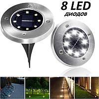 Уличный светильник на солнечной батарее Solar Disk Lights 5050 8 led лед фонарь