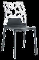 Стул Papatya Ego-Rock антрацит сиденье, верх прозрачно-чистый