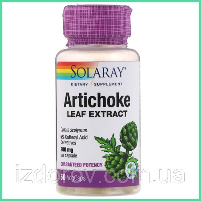 Solaray, Артишок для здоровья печени и сердца, Artichoke Leaf Extract, 300 мг, 60 растительных капсул. США