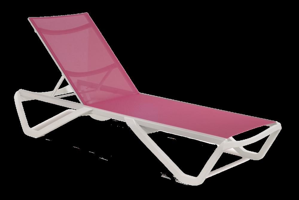 Шезлонг Papatya Wave білий 01, сітка темно-рожева 5336