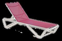Шезлонг Papatya Wave білий 01, сітка темно-рожева 5336, фото 1
