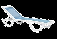 Шезлонг лежак Papatya Myra Tex белый, сетка голубая, фото 1