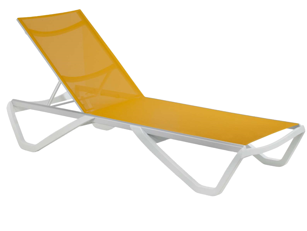 Шезлонг Papatya Wave білий 01, сітка жовта 5017