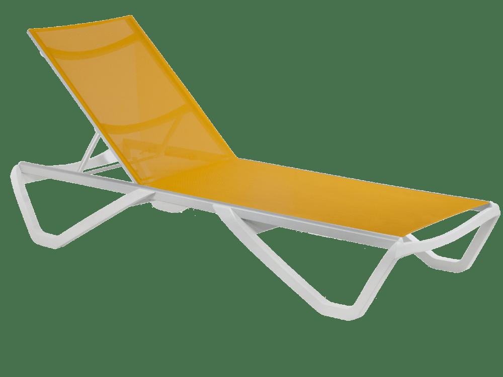 Шезлонг Papatya Wave белый 01, сетка оранжевая 5329