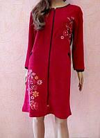 Халат женский велюровый на молнии Красный 50 Размер