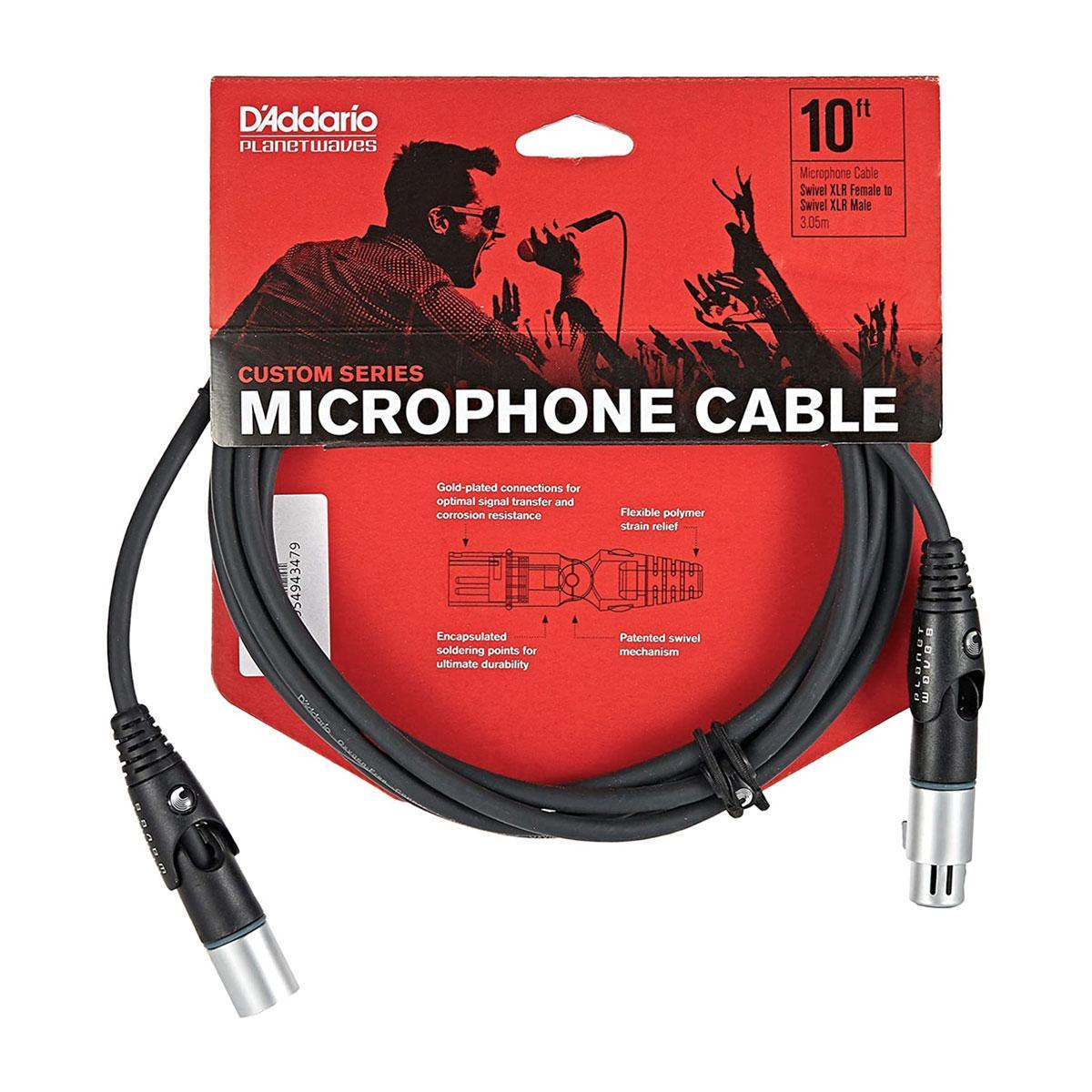 Мікрофонний кабель D`ADDARIO PW-MS-10 Custom Series Swivel (3m)