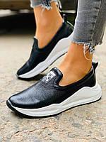 Жіночі шкіряні туфлі чорні сліпони, фото 1