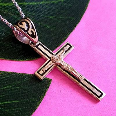 Серебряный крестик с эмалью на крестины - Серебряный крестик для крещения мальчика