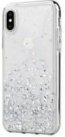 Силиконовый прозрачный чехол с блестками для Samsung Galaxy A21