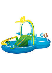 Надувной бассейн с горкой Crivit 300х180х160см Синий, Зеленый, Желтый
