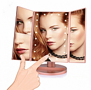 Зеркало для макияжа тройное с LED подсветкой и Superstar Magnifying Mirror Розовое