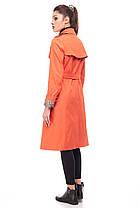 Базовый коттоновый непродуваемый тренч плащ в цвете оранж с кокеткой размер 44-46, фото 3