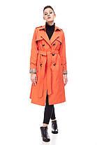 Базовый коттоновый непродуваемый тренч плащ в цвете оранж с кокеткой размер 44-46, фото 2