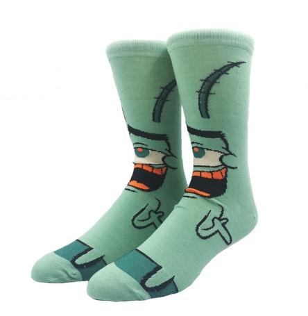 Прикольные высокие мужские носки с принтом Планктона