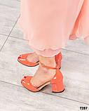 Туфли летние с ремешком лаковые коралловые, фото 2