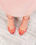 Туфли летние с ремешком лаковые коралловые, фото 5