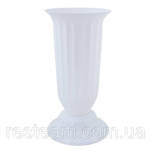 Ваза пластм. Флора 38 см белая