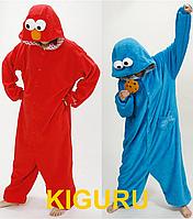 Костюм кигуруми Cookie Monster красный и голубой