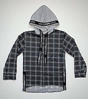 Рубашка для мальчика подростка с капюшоном 34-42р-р костюмка принт клетка лента кнопка.