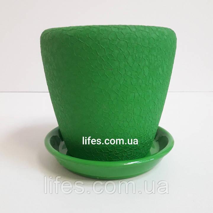 Вазон керамический зеленый шелк 1.2л