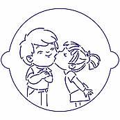 Трафарет для торта Мальчик с девочкой-1 18*18 см (TR-4)