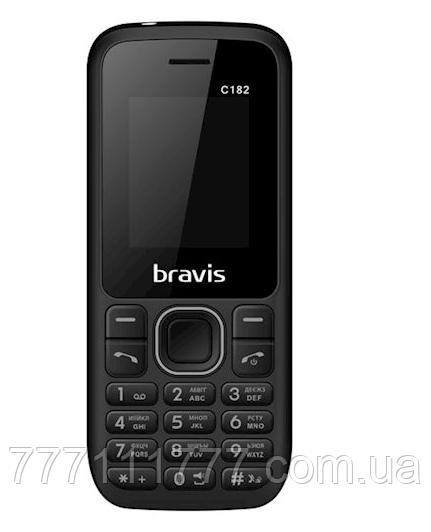"""Кнопочный телефон недорогой бравис с мп3 и блютузом на 2 sim Bravis C182 Simple Black 1.77"""""""
