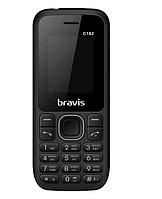 """Кнопочный телефон недорогой бравис с мп3 и блютузом на 2 sim Bravis C182 Simple Black 1.77"""", фото 1"""