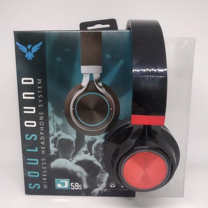 Беспроводные Bluetooth Наушники J59SS FM радио Чёрные с Красным