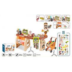 Детский игровой набор магазин прилавок большой 668-68 тележка продукты касса сканер звук свет