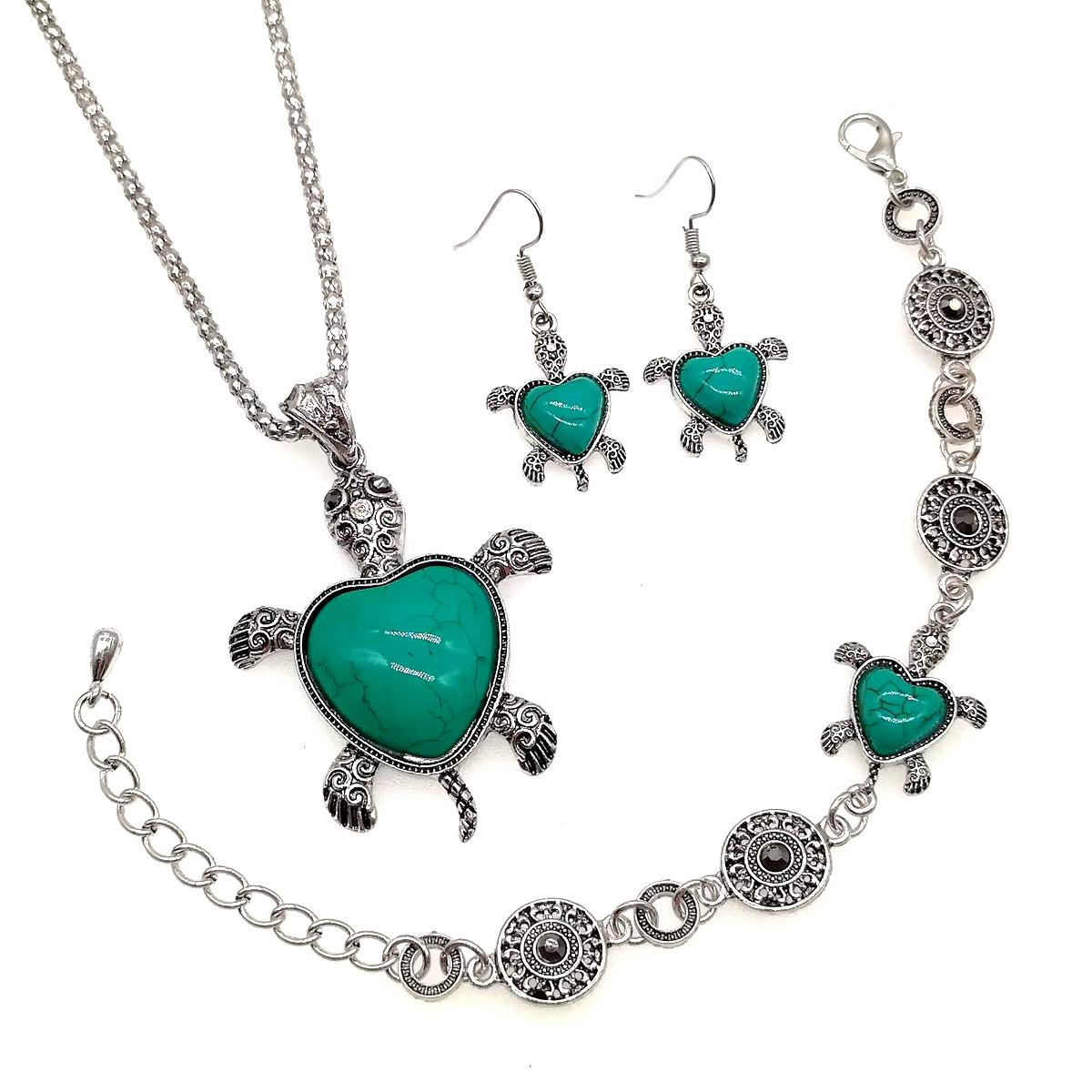 """Набір SONATA """"Черепаха"""" (підвіска на ланцюжку, браслет, сережки), зелена бірюза прес., 73479"""