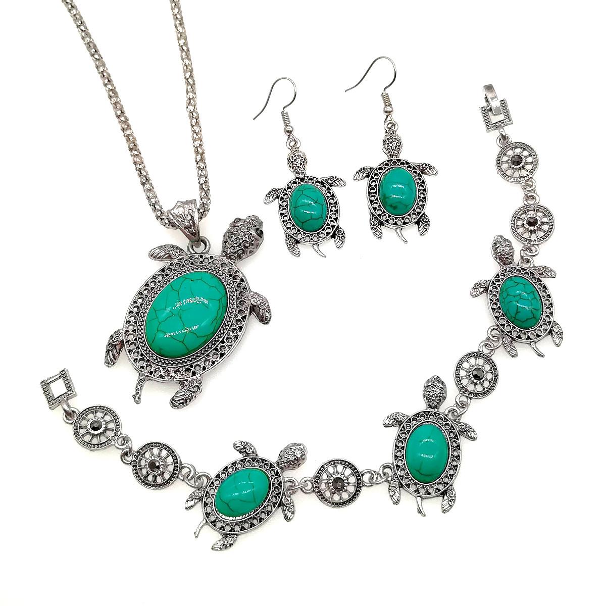 """Набір SONATA """"Черепаха"""" (підвіска на ланцюжку, браслет, сережки), зелена бірюза прес., 73481"""