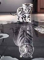 Алмазная вышивка котик - тигр 30х40 см, полная выкладка, квадратные стразы, фото 1