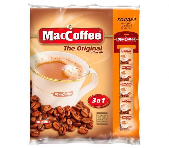 Маккофе 3 в 1 Оригинал кофейный напиток 100 пакетиков