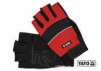 Рукавиці робочі з відкритими пальцями YATO штучна шкіра + синтетична тканина розмір 10