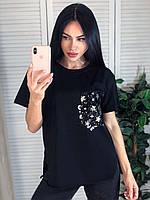 Свободная черная футболка женская, фото 1