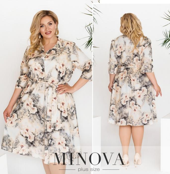 Летнее платье-рубашка цвет серый Размеры: 50-52, 58-60, 62-64