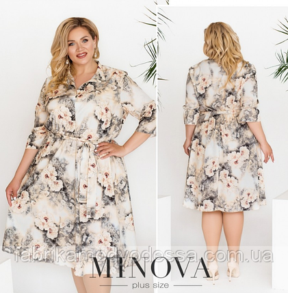 Летнее платье-рубашка цвет серый Размеры: 50-52, 58-60, 62-64, фото 2