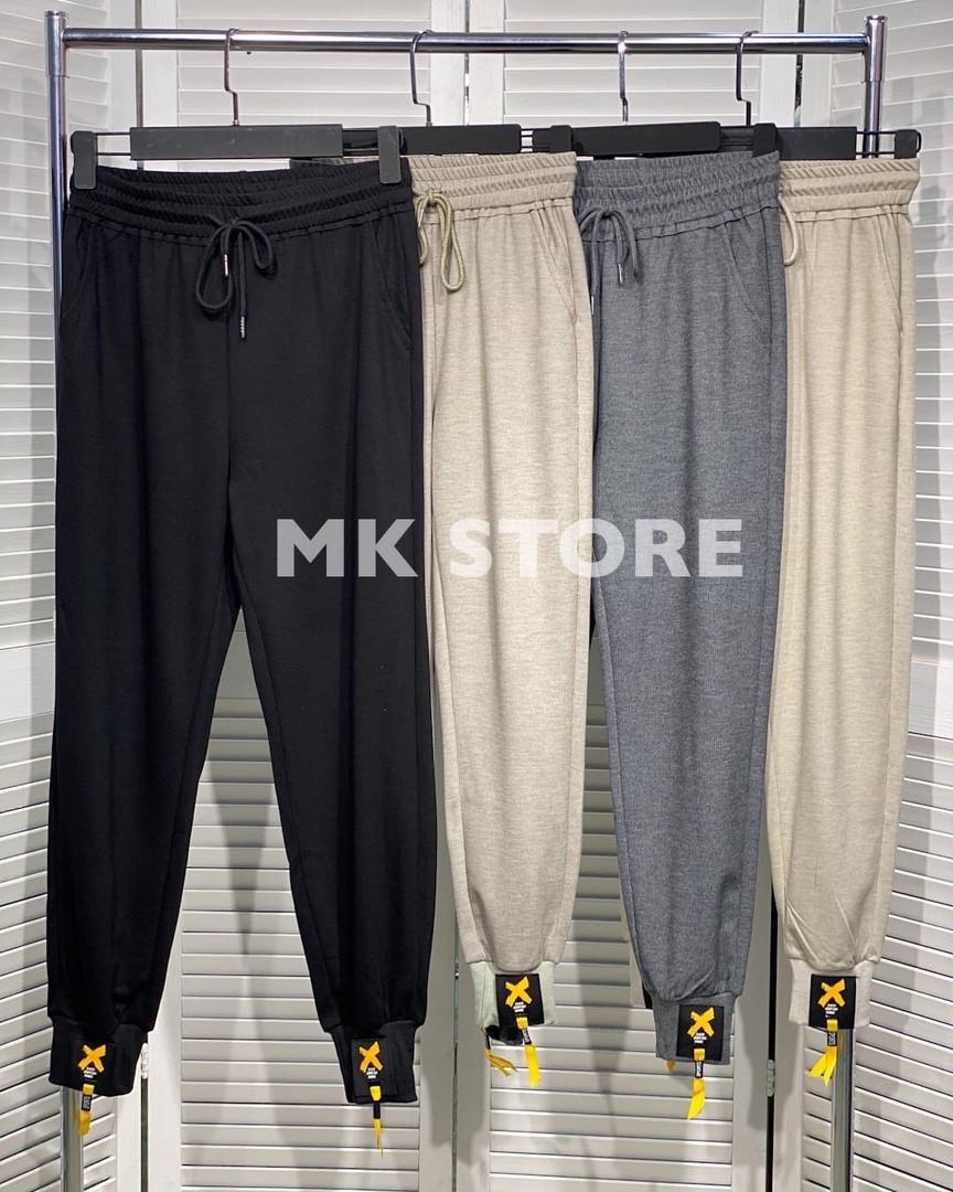 Спортивные брюки средней посадки из двунитки на резинке, 4цвета, Р-р.М, L, XL, 2XL, 3XL Код 294Т