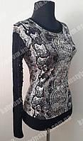 Кофта женская с рукавами ажурной вязки